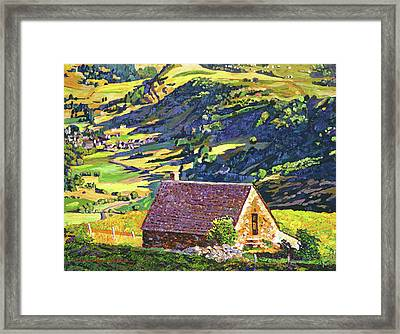 Village In The Valley Framed Print by David Lloyd Glover