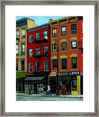 Village Leather - New York Cityscape Framed Print by Linda Apple