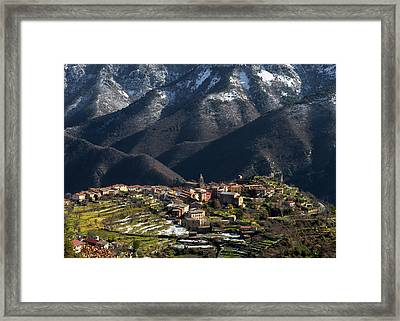 Framed Print featuring the photograph Village Of Utelle by Carl Amoth