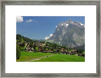Village Of Grindelwald With Mount Framed Print