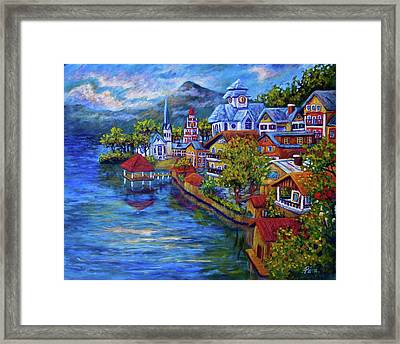 Village On The Lake Framed Print