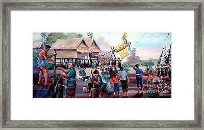 Village Rocket Festival-vintage Painting Framed Print
