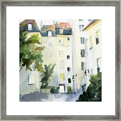 Village Saint Paul Watercolor Painting Of Paris Framed Print