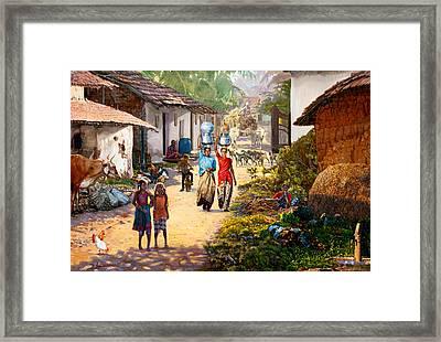 Village Scene In India Framed Print by Dominique Amendola