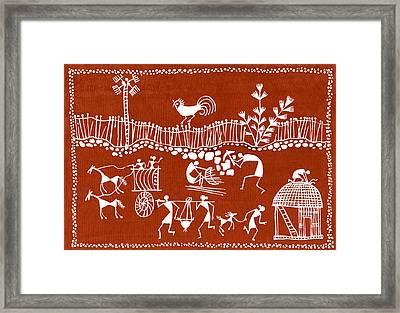 Village Scene In Warli Tribal Art Framed Print by Jey Manokaran