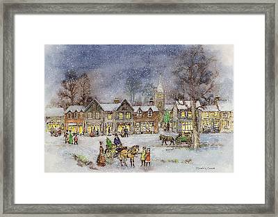 Village Street In The Snow Framed Print