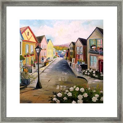 Framed Print featuring the painting Village Street by John Williams