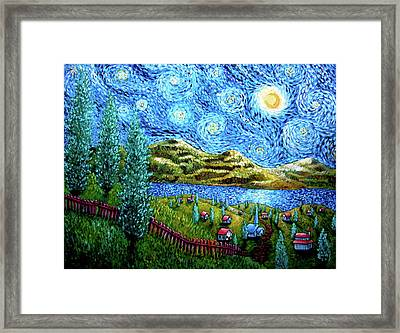 Village Under The Stars Framed Print
