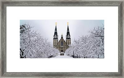 Villanova University After Snow Fall Framed Print