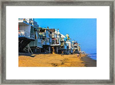 Villas On The Rocky Coast Of Malibu In Los Angeles Framed Print
