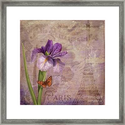 Ville De Paris French Flowers Garden Art Vintage Style  Framed Print by Tina Lavoie