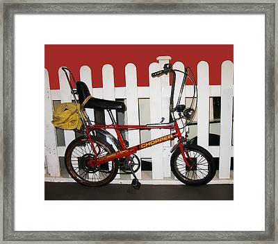 Vintage 1970s Bike With Rucksack  Framed Print