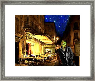 Vincent At The Cafe At Night Framed Print by Jose A Gonzalez Jr