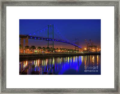 Vincent Thomas Bridge Framed Print by Eddie Yerkish