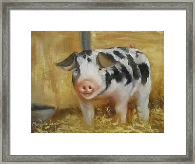 Framed Print featuring the painting Vindicator The Spotted Pig by Cheri Wollenberg