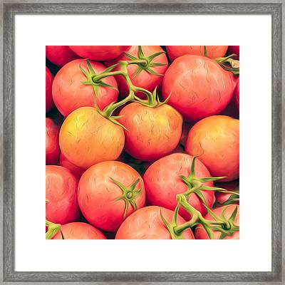 Vine-ripened Tomatoes Kitchen Accent Square Framed Print by Dave Martin