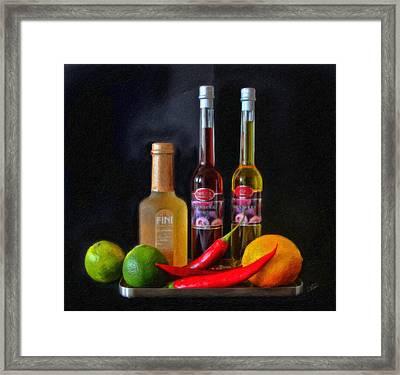 Vinegar Oil Fruit And Peppers Framed Print