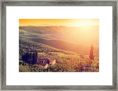 Vineyard And Farm House, Villa In Tuscany, Italy At Sunset Framed Print by Michal Bednarek