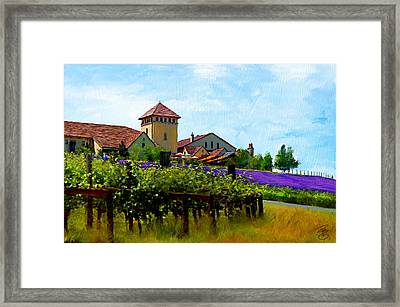 Vineyard And Heather Framed Print