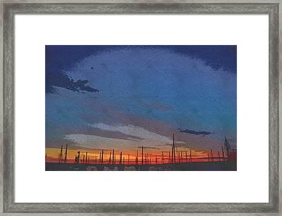 Vineyard Haven Harbor Pano Dawn 3 Framed Print