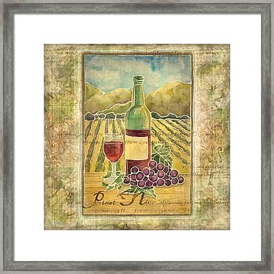 Vineyard Pinot Noir Grapes N Wine - Batik Style Framed Print by Audrey Jeanne Roberts