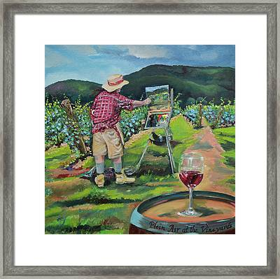 Framed Print featuring the painting Vineyard Plein Air Painting - We Paint With Wine by Jan Dappen