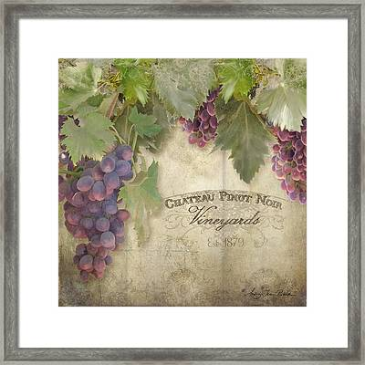 Vineyard Series - Chateau Pinot Noir Vineyards Sign Framed Print by Audrey Jeanne Roberts