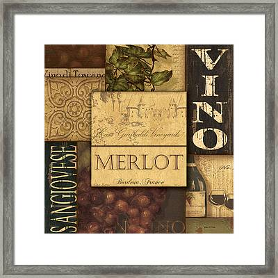 Vino Collage Framed Print by Grace Pullen