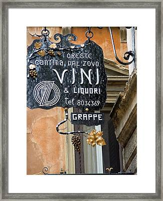 Vino In Venice Framed Print by Mindy Newman