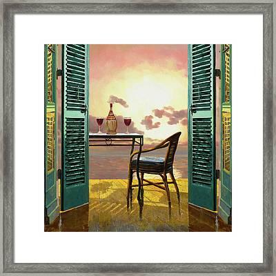 Vino Rosso Al Tramonto Framed Print by Guido Borelli