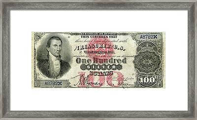 Vintage $100 Bill Circa 1878 Framed Print