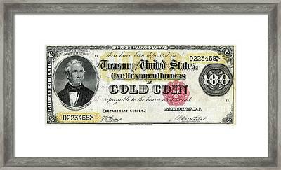 Vintage $100 Bill Circa 1882 Framed Print