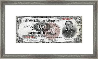 Vintage $100 Bill Circa 1890 Framed Print
