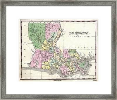 Vintage 1827 Louisiana Map Framed Print