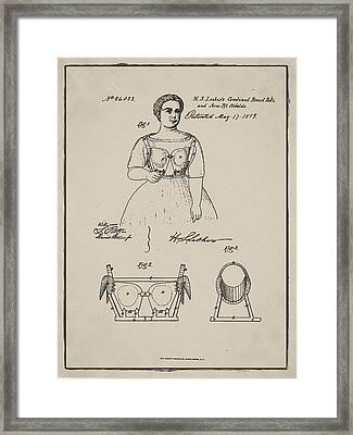 Vintage 1859 Brassiere Patent In Sepia Framed Print by Bill Cannon
