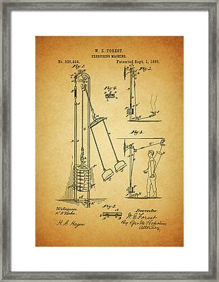 Vintage 1885 Exercising Device Patent Framed Print by Dan Sproul