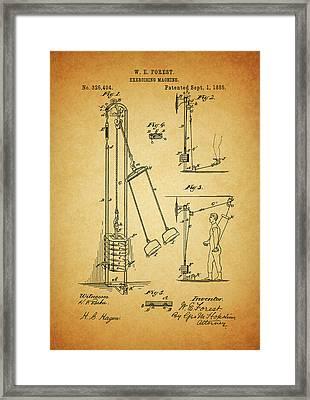 Vintage 1885 Exercising Device Patent Framed Print