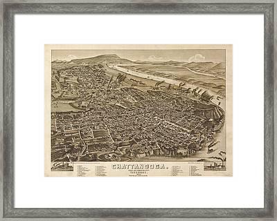 Vintage 1886 Chattanooga Map Framed Print