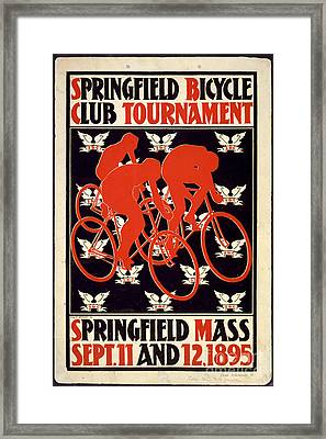 Framed Print featuring the photograph Vintage 1895 Springfield Bicycle Club Poster by John Stephens