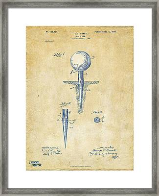 Vintage 1899 Golf Tee Patent Artwork Framed Print