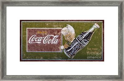 Vintage 1916 Hand Painted Coca Cola Sign Framed Print by John Stephens