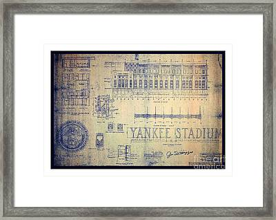 Vintage 1920s Art Deco Yankee Stadium Blueprint Autographed By Joe Dimaggio Framed Print