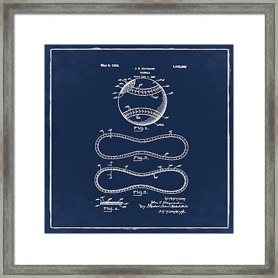 Vintage 1928 Baseball Patent Blue Framed Print by Bill Cannon