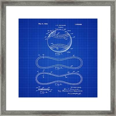 Vintage 1928 Baseball Patent Blue Print Framed Print by Bill Cannon