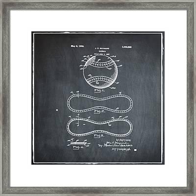 Vintage 1928 Baseball Patent Chalk Framed Print by Bill Cannon