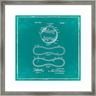 Vintage 1928 Baseball Patent Green Framed Print by Bill Cannon