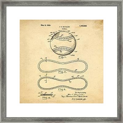 Vintage 1928 Baseball Patent In Sepia Framed Print