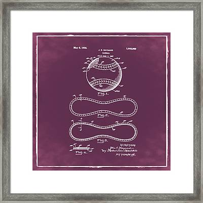 Vintage 1928 Baseball Patent Red Framed Print by Bill Cannon