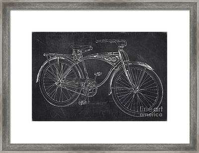 Vintage 1939 Schwinn Bicycle Chalkboard Framed Print by Edward Fielding