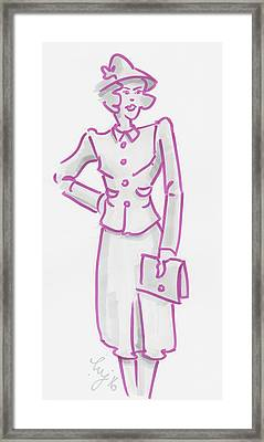 Vintage 1940s Woman Illustration - I Knew Hed Be Late Framed Print by Mike Jory